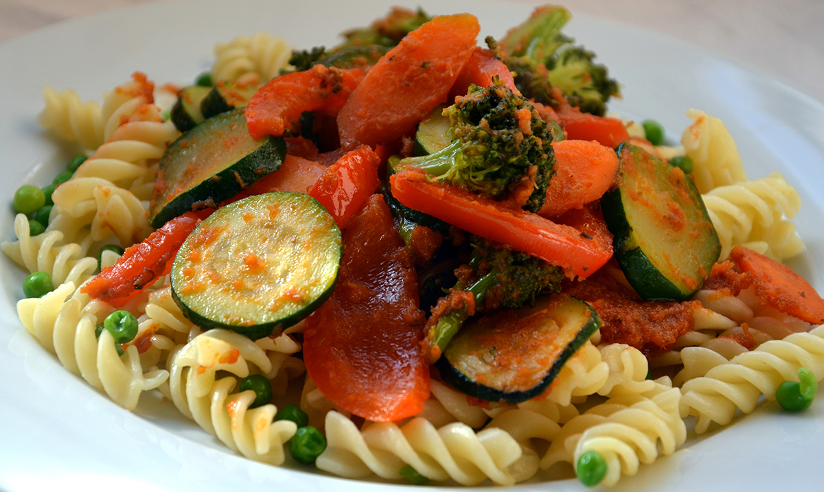 Vegetable pasta is a healthy colourful dish provided there s a good